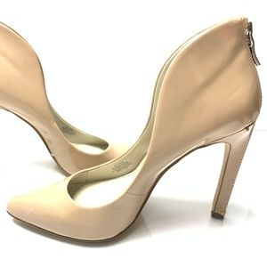 BCBG Women's Brown Zipper Cute Tan Beige Heel Pump